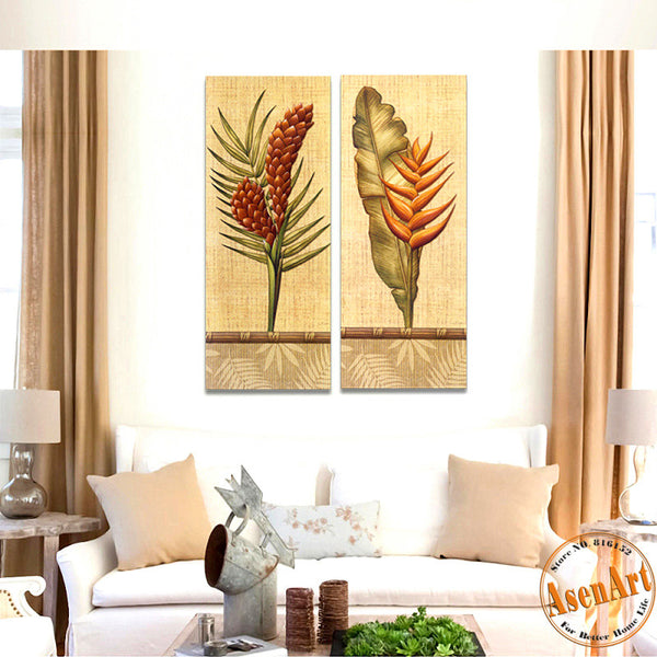 2 Piece Set Green Plants Painting for Bedroom Home Decoration Wall Art Canvas Prints Wall Picture No Frame