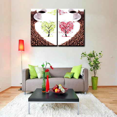 2 Pieces Set Coffee Love Heart Tree Painting Canvas Print Mural Art for Home Living Cafe Wall Decor