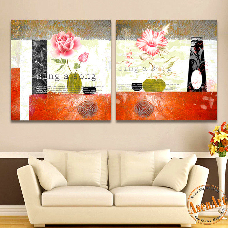 2 Panel Classical Pink Flower Painting For Living Room Modern Wall Decor  Canvas Prints Artwork No