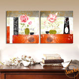 2 Panel Classical Pink Flower Painting for Living Room Modern Wall Decor Canvas Prints Artwork No Frame