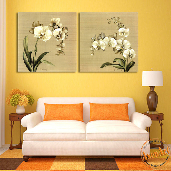 2 Panel Butterfly Orchid White Flower Painting Picture for Living Room Wall Decor Canvas Prints Artwork No Frame