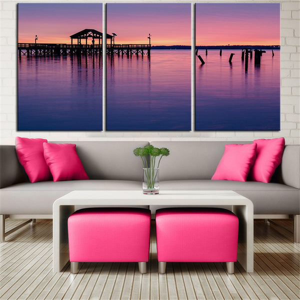 NO FRAME 3pcs Virginia park lake reflection bridge pier Printed Oil Painting On Canvas wall Painting for Home Decor Wall picture