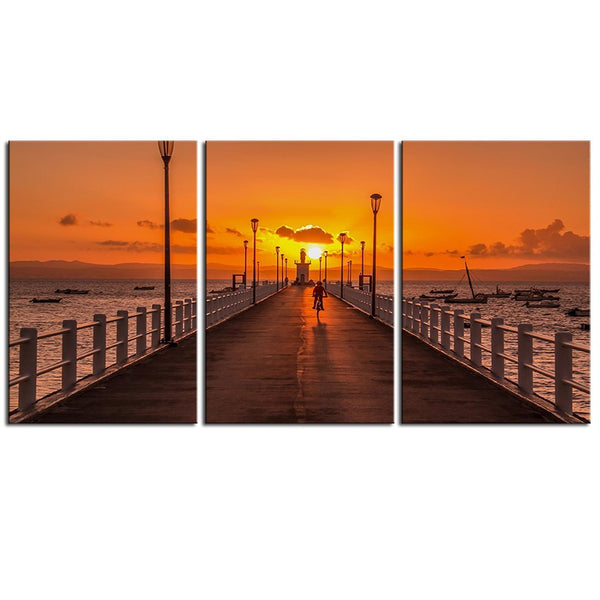 NO FRAME 3pcs sunset clouds nature pier ocean view sky Printed Oil Painting On Canvas wall Painting for Home Decor Wall picture