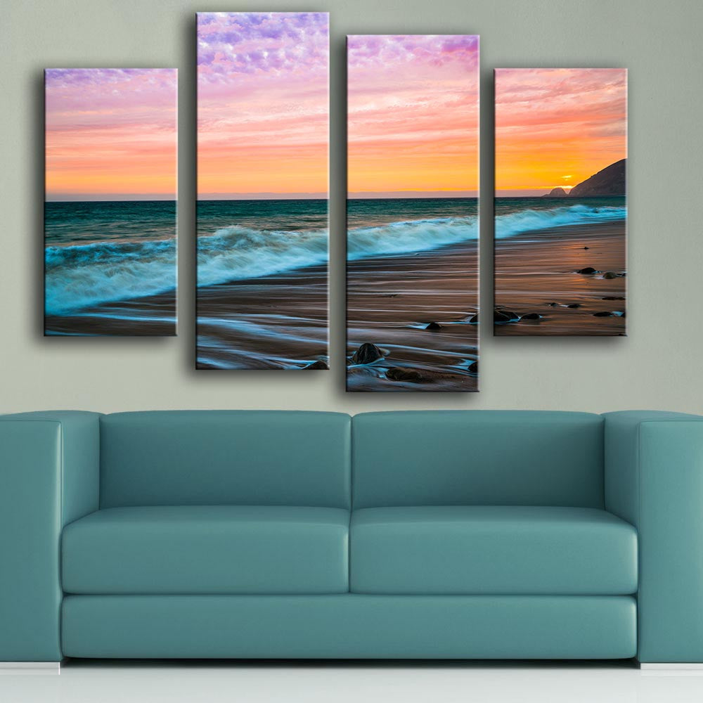 2016 new product Print Oil Painting Wall painting 4PC/SET malibu sunset sea waves Wall Art Picture For Living Room painting