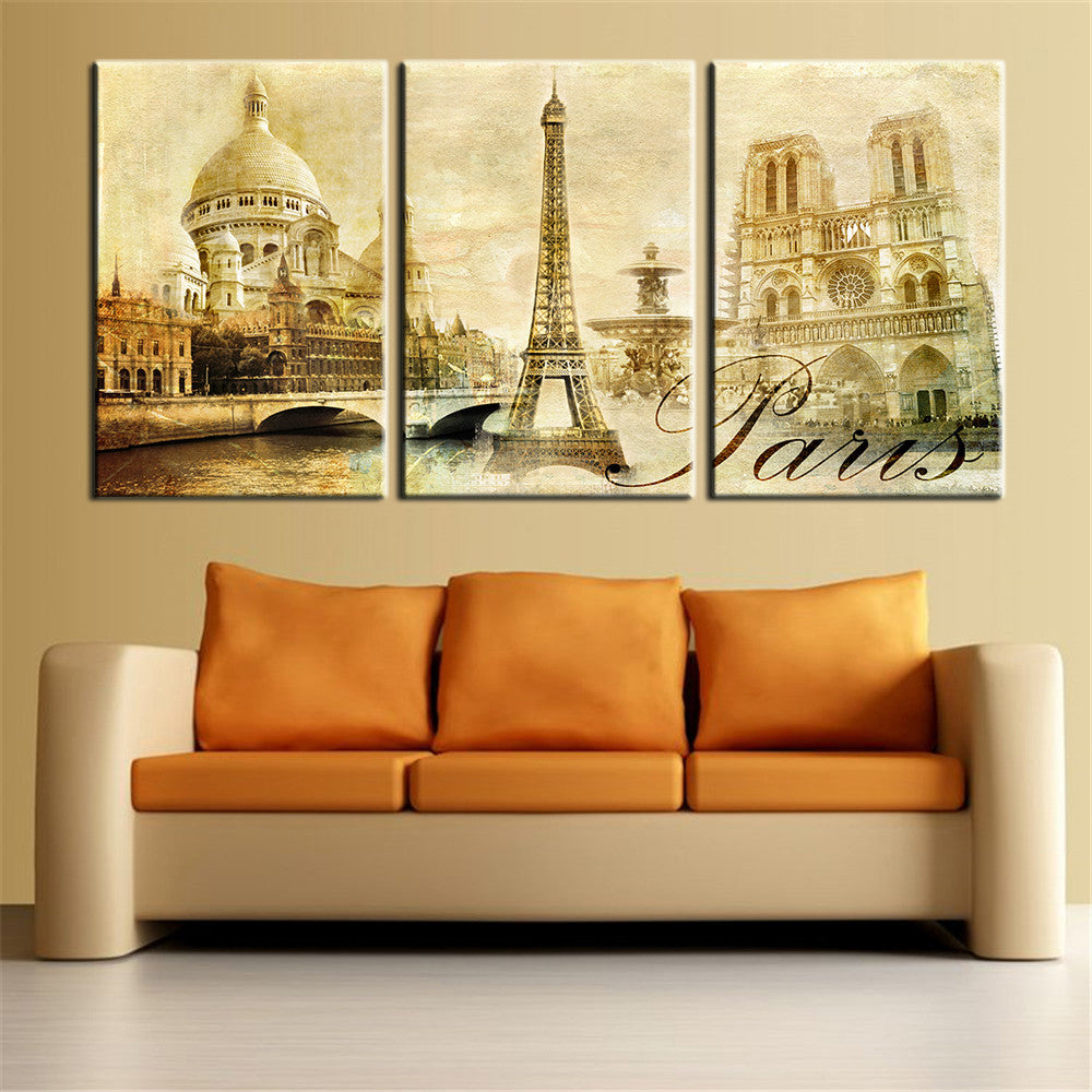 Wall Art Pictures Paris Famous Buildings Large Modern Home Wall ...