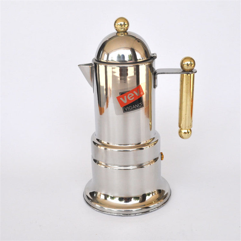 Stainless steel Moka pot / 4 cup Aluminium filter cartridge material Mocca coffee pots coffee percolators tool filter coffee pot