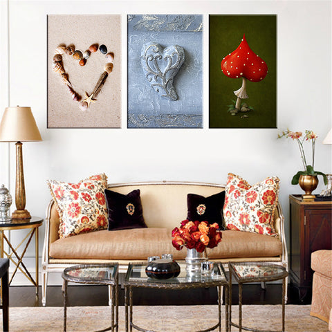 3 Pieces Canvas Painting Heart Shape HD Poster Wall Picture Home Decor Oil Paining for Living Room Christmas Decoration Unframed