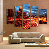 5 Panel Light Road Night City Landscape Painting for Living Room Modern Home Decor Wall Art Canvas Prints Unframed