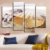 Unframed 4pcs Pearl Mussel And Beach Art Wall Painting Modern Print Picture Canvas Artwork For Living Room Decoration