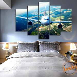 5 Panels Airplane Canvas Painting Print Picture for Living Room Home Decoration Wall Art Picture 2016 No Frame