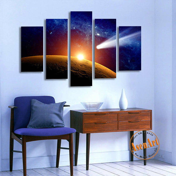 5 Panel Falling Skies Star Light Outer Space Painting Wall Art Canvas Prints Artwork Picture for Living Room Decor Unframed