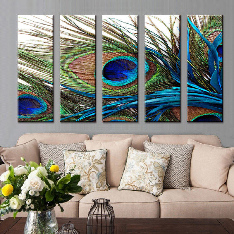 5 Pcs Set Peacock Feather Wall Art Top Home Decoration Modern Wall Painting Canvas Art Cheap Canvas Wall Art Picture