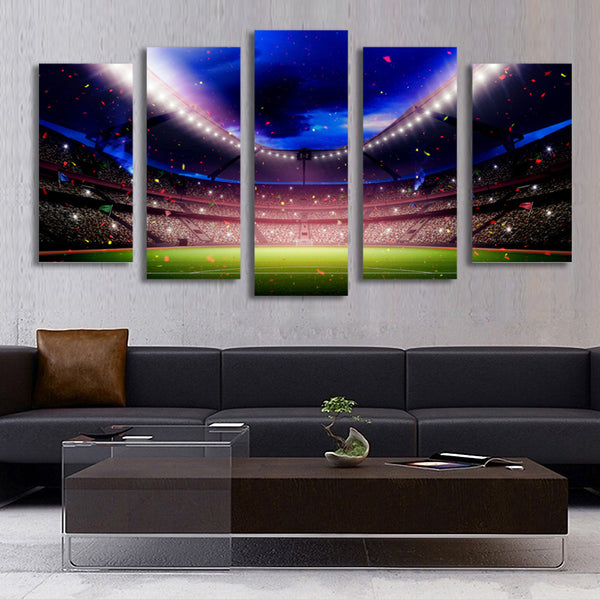 5 Panel Football Playground World Cup Picture Painting for Living Room Soccer Fan Home Decor Wall Art Canvas Prints Unframed