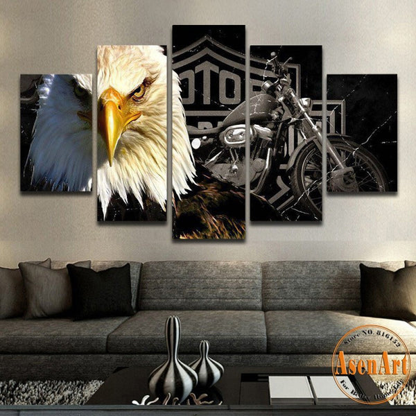 5 Panel Canvas Art Eagle Motorcycle Painting for Living Room Modern Home Decoration Wall Art Canvas Prints Wall Picture Unframed