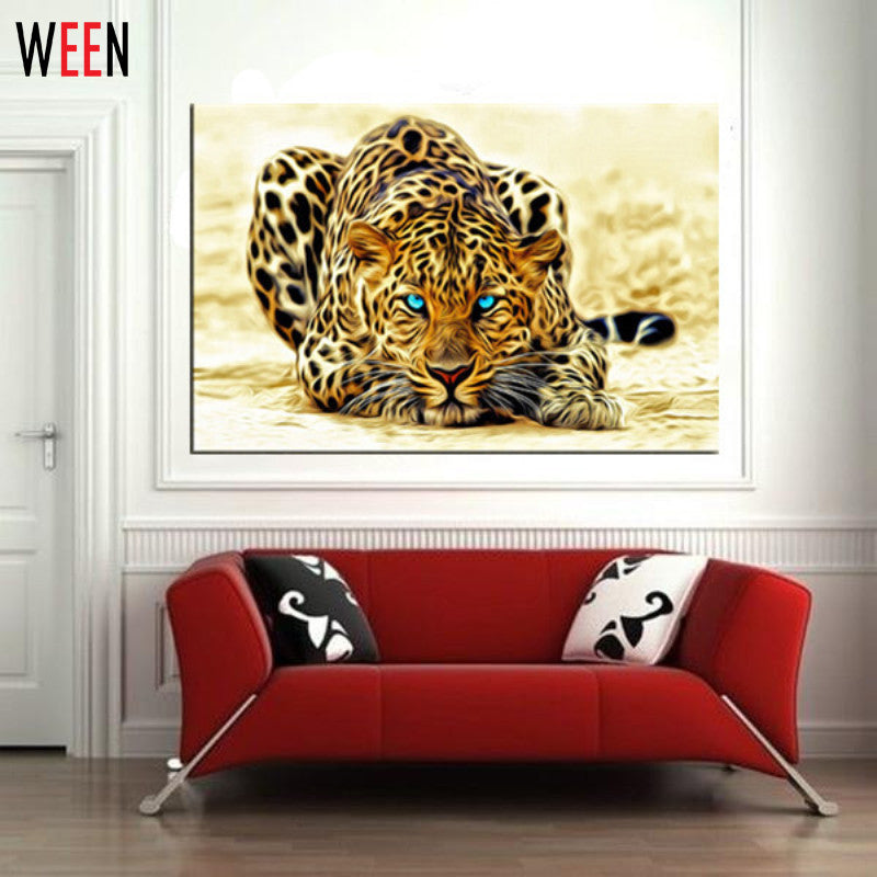 Modern DIY Painting by Numbers Leopard Picture Home Wall Art Canvas Decor Frameless Abstract Painting Cuadros Decoracion