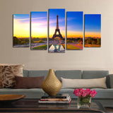 Unframed 5 panels Eiffel Tower Modern Home Wall Decor Painting Canvas Art HD Print Painting Canvas Wall Picture For Home Decor