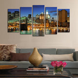 5 panels(No Frame)The City Landscape  Home Wall Decor Painting Canvas Art HD Print Painting Canvas Wall Picture For Home Decor