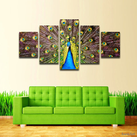 5 Panel Beautiful Peacock Painting Canvas Painting Modern Print Wall Art Picture Living Room Bedroom Home Decoration