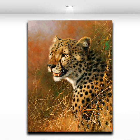 Americal Leopard Animal Painting Wall Art Oil Picture on Canvas Print  Modern for Home Living Room Office Wall Decor
