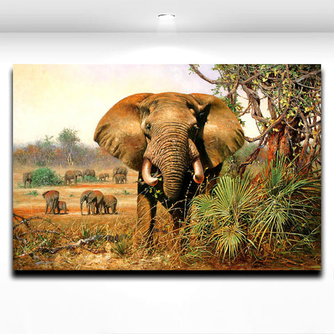 African Wild Animal  Elephant Painting Canvas Print Wall Decor Modern Artwork for Home Living Office