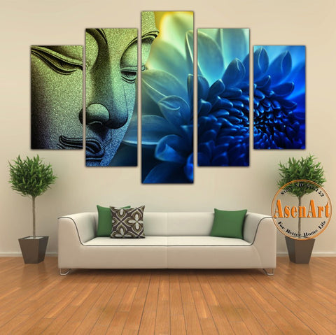 Attractive 5 Pieces Wall Picture Buddha Painting Flower Canvas Wall Art Picture Home  Decoration Canvas Print Artwork ...