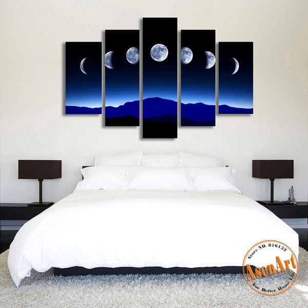 5 Panel Dark Moon Picture Mountain Night Landscape Painting for Bedroom Wall Art Canvas Prints No Frame