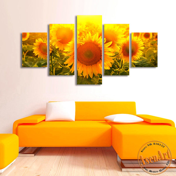 5 Piece Wall Art Large Sunflower Painting Modern Floral Paintings Canvas Prints Flowers Picture for Bedroom Decor No Frame