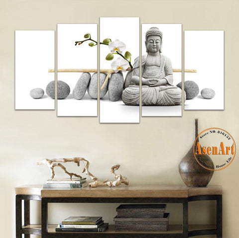 5 Panel Painting Flower Stone Buddha Wall Art Canvas Print Modern Artwork for Living Room Home Decoration Unframed