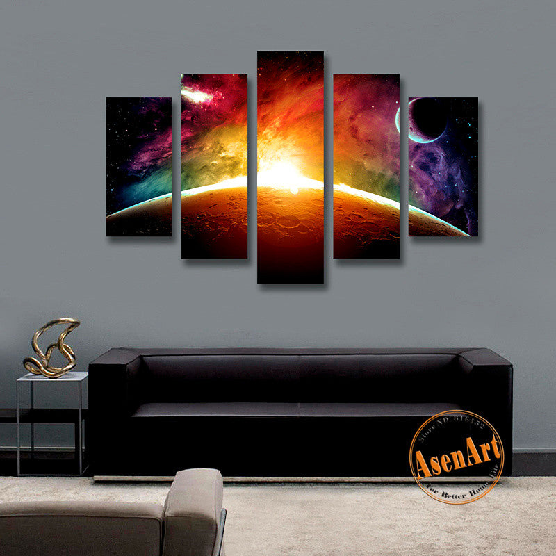 amazing outer space painting star moon 5 panel wall art canvas prints ellaseal. Black Bedroom Furniture Sets. Home Design Ideas