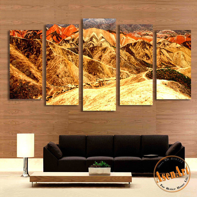 5 Panel Chinese Park Mountain Landscape Pictures Home Decor Wall Art Canvas Prints Painting for Living Room Unframed