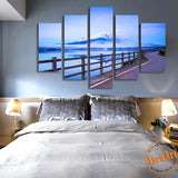5 Panel Japan Fuji Mountain Landscape Painting Wall Art Canvas Prints Artwork Modern Home Decor Living Room Unframed