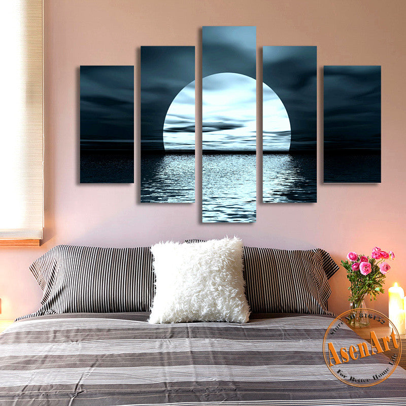 5 Panel Moon Picture Night Sea Landscape Painting For Living Room Modern Home  Decor Wall Art