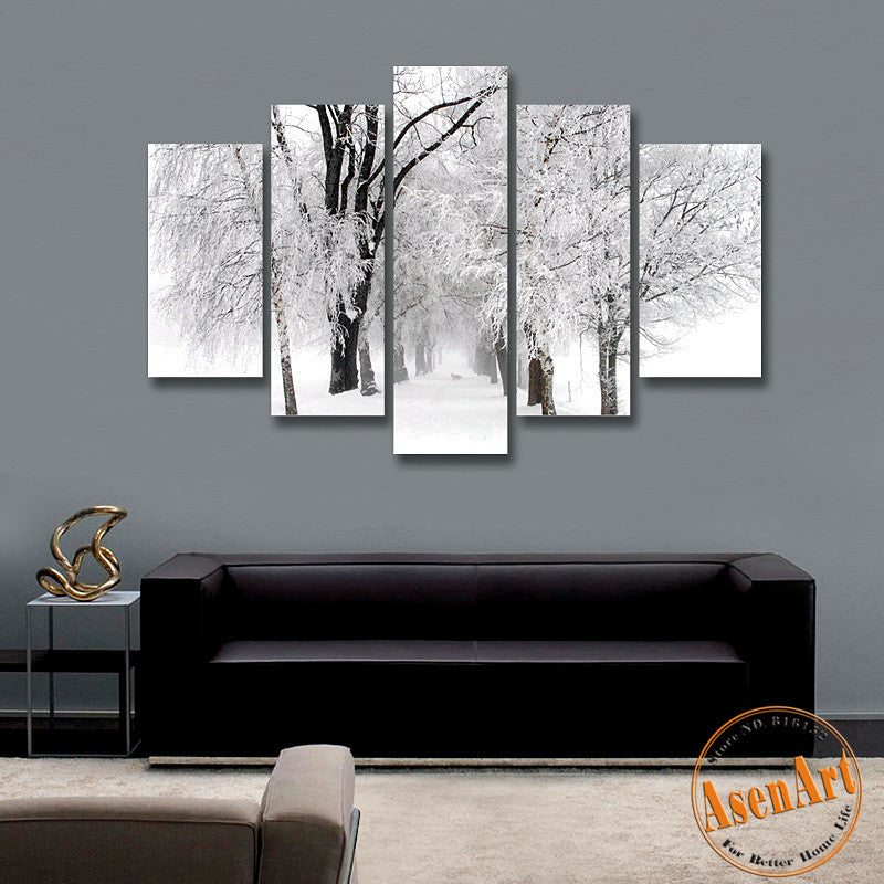 Modern Living Room Wall Art 5 panel wall art winter snow paintings modern tree painting