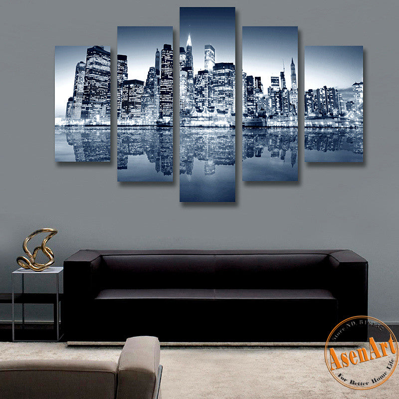 5 Panel Canvas Art Black and White Painting City Landscape Painting Canvas Prints Artwork Picture for Living Room Unframed