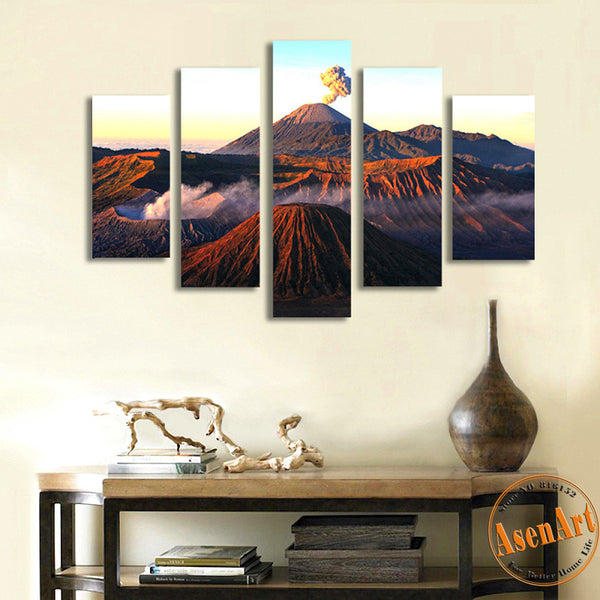 5 Panel Volcano Landscape Painting Mountain Picture Sunset Canvas Printing Modern Home Decor Wall Art for Living Room Unframed