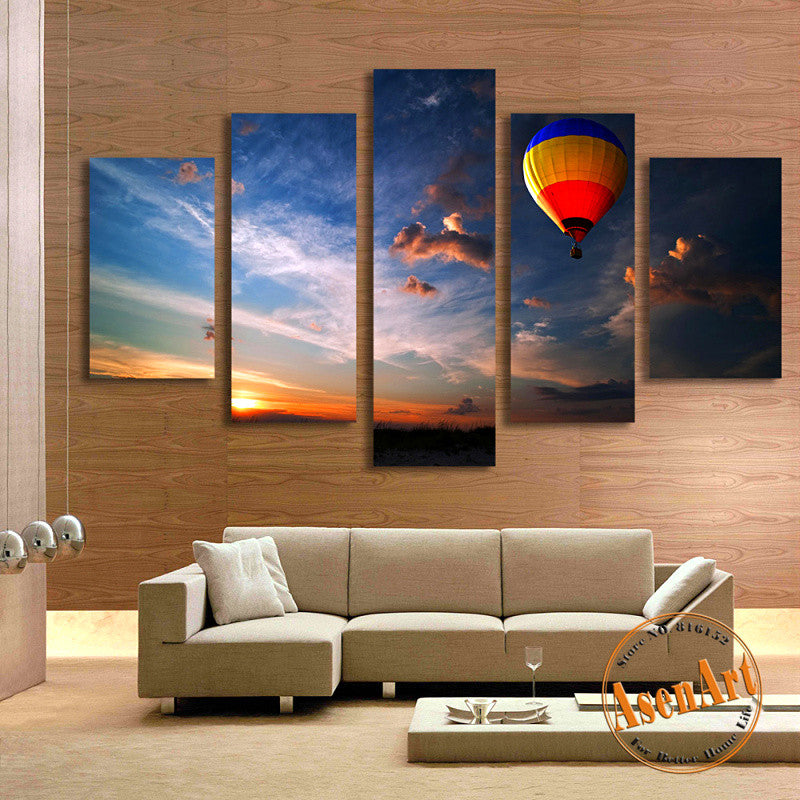 5 Panel Balloon Painting Sunset Landscape Painting Modern Home Decor Wall Art Canvas Prints Picture for Living Room Unframed