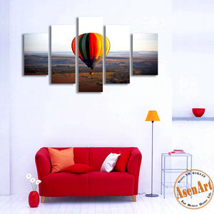 5 Panel Canvas Art Hot Air Balloon Painting Canvas Prints Wall Paintings Modern Home Wall Decor Living Room Unframed
