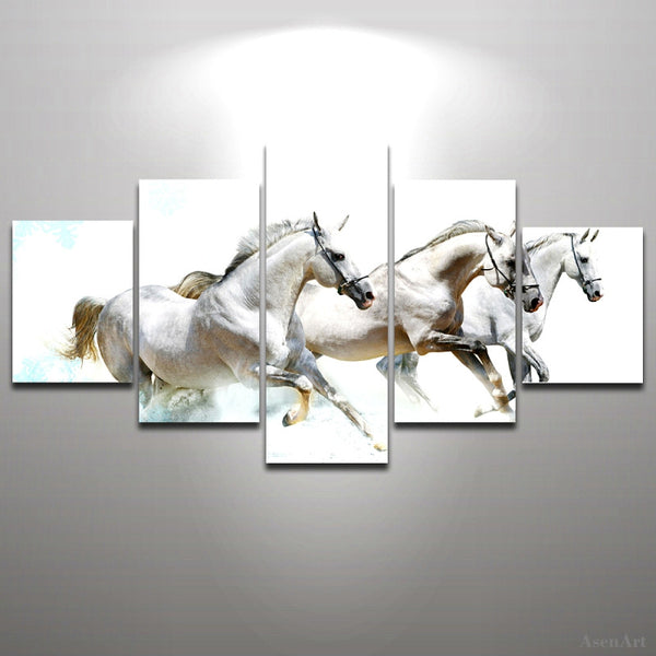 5 Panels Racing Horse Painting Oil Canvas Painting Print Animal Picture Wall Decoration Living Room Office Modern Wall Art