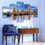 5 Panel Big Ben London Thames Landscape Print Canvas Painting Home Decoration Wall Art Picture for Living Room Unframed