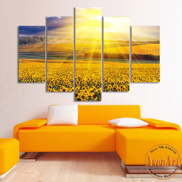 5 Panel Canvas Art Gold Sky Sunflower Painting Canvas Prints Wall Art Pictures for Living Room Modern Home Decor Unframed