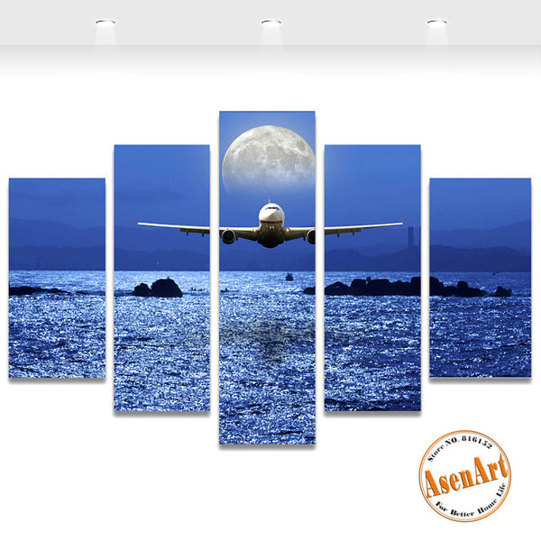 5 Panel Seascape Painting Airplane Moon Picture Wall Art Canvas Prints Wall Pictures for Bedroom Home Decor Unframed