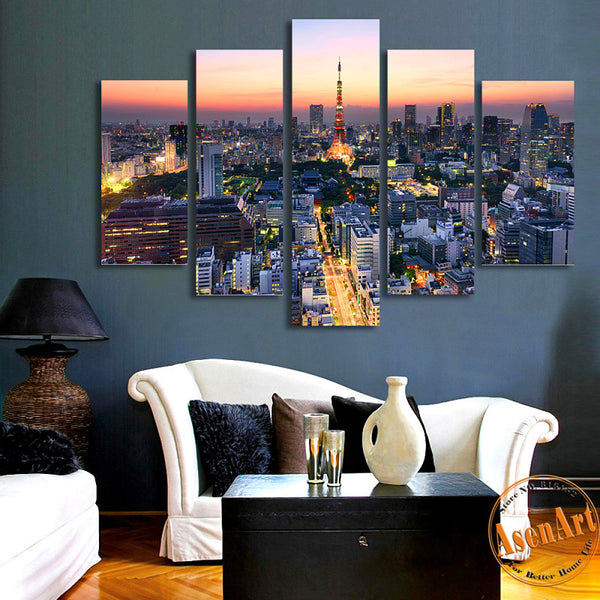 5 Panel Wall Art Japan Tokyo Tower City Landscape Painting Canvas Prints Artwork Picture for Living Room Unframed