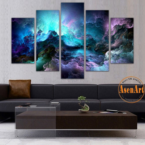 5 Panel Abstract Wall Art Canvas Prints Colorful Cloud Painting For Modern Home Decoration