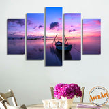 5 Panel Canvas Art Sunset Painting Seaside Boat Painting Canvas Prints Artwork Home Decor Picture for Living Room Unframed