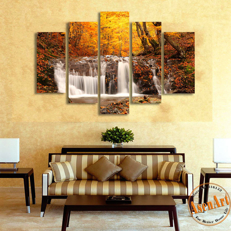 5 Panel Waterfall Painting Autumn Tree Painting Modern Home on the Canvas Prints Picture for Living Room Unframed