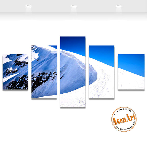 5 Piece Canvas Art Snow Mountain Landscape Painting Canvas Printing Modern Home Decor Picture for Living Room Unframed