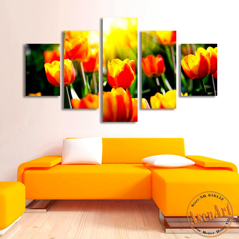 5 Panel Wall Canvas Tulips Flower Painting Canvas Prints Artwork ...