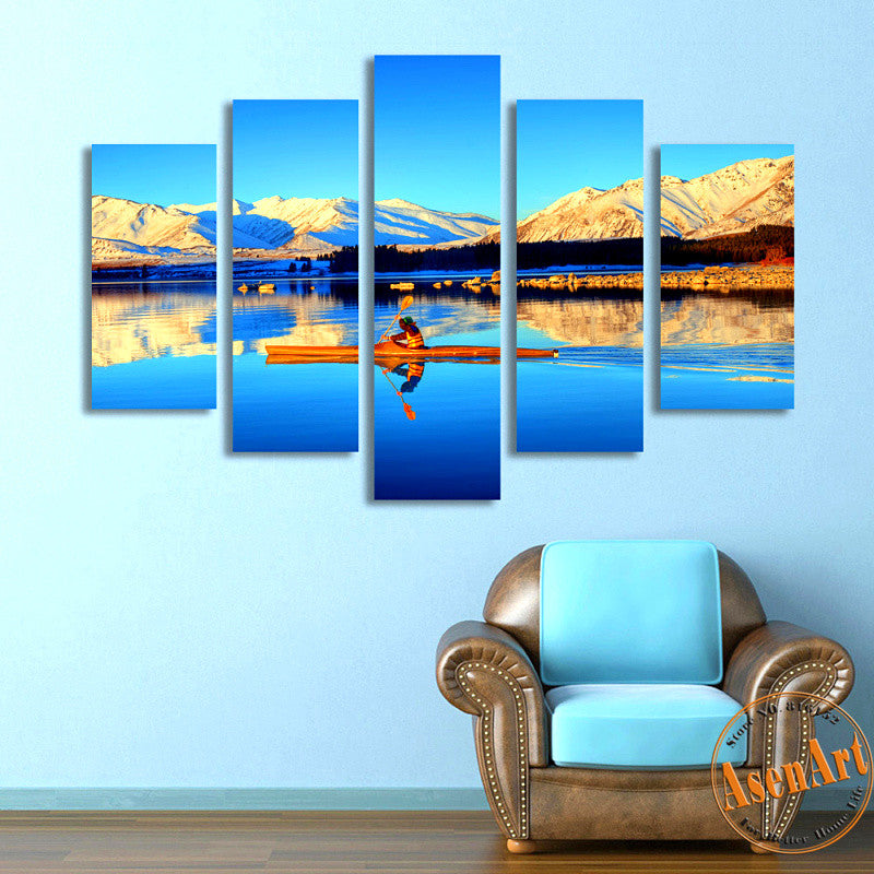 5 Panel Nature Landscape Painting Mountain Lake Boat Canvas Prints Artwork Modern Home Decor Picture for Living Room Unframed
