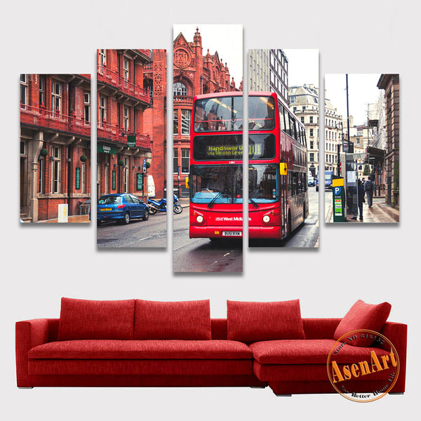 5 Panel Wall Canvas Street Bus London Painting Modern Home on the Canvas Prints Artwork Picture for Living Room Unframed