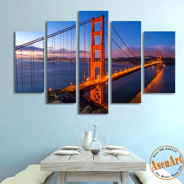 5 Panel Golden Gate Bridge Picture Wall Art Canvas Prints Wall Paintings for Bedrooms Home Decor Unframed